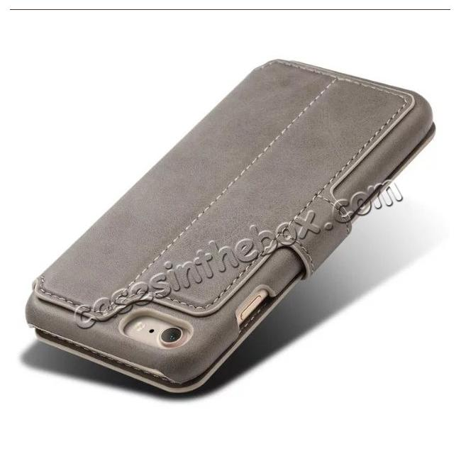 top quality Crazy Horse Leather Flip Wallet Stand Case Cover for iPhone 7 Plus 5.5 Inch - Grey