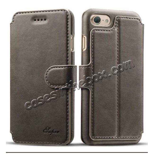 wholesale Crazy Horse Leather Flip Wallet Stand Case Cover for iPhone 7 Plus 5.5 Inch - Grey