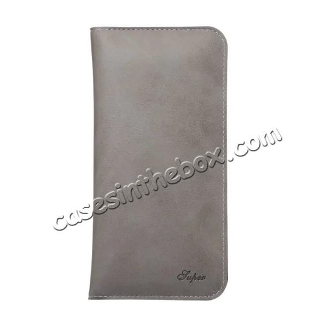 discount Crazy Horse PU Leather Flip Bag Pouch Wallet Case for iPhone 7 Plus 5.5 Inch - Grey