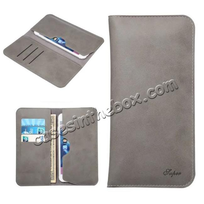 wholesale Crazy Horse PU Leather Flip Bag Pouch Wallet Case for iPhone 7 Plus 5.5 Inch - Grey