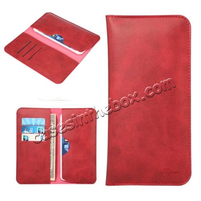 wholesale Crazy Horse PU Leather Flip Bag Pouch Wallet Case for iPhone 7 Plus 5.5 Inch - Red