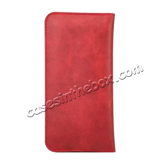 cheap Crazy Horse PU Leather Flip Bag Pouch Wallet Case for iPhone 7 Plus 5.5 Inch - Red
