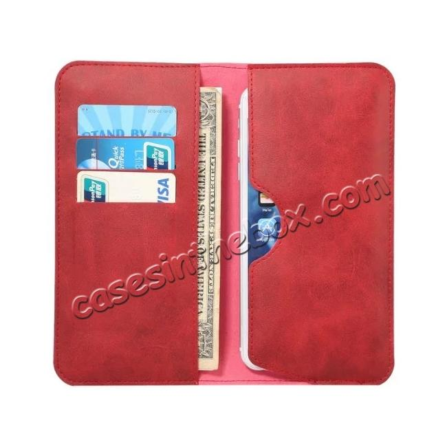 top quality Crazy Horse PU Leather Flip Bag Pouch Wallet Case for iPhone 7 Plus 5.5 Inch - Red