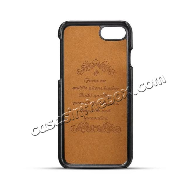 discount High Quality Leather Back Case with Card Slots for iPhone 7 4.7 inch - Black