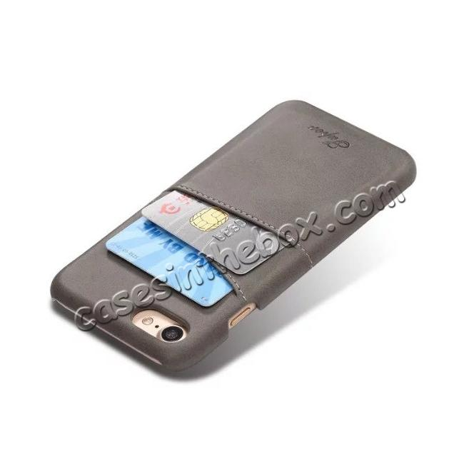 cheap High Quality Leather Back Case with Card Slots for iPhone 7 4.7 inch - Grey
