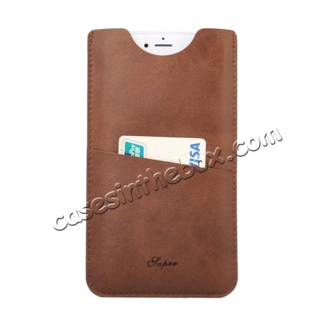 wholesale High quality Leather Pouch Case With Card Holder for iPhone 7 4.7 inch - Brown