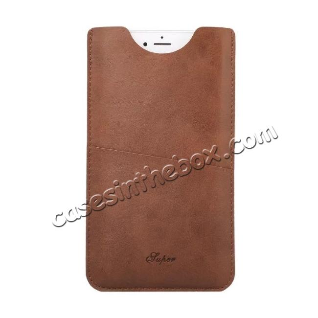 cheap High quality Leather Pouch Case With Card Holder for iPhone 7 4.7 inch - Brown