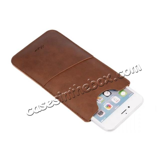 top quality High quality Leather Pouch Case With Card Holder for iPhone 7 4.7 inch - Brown