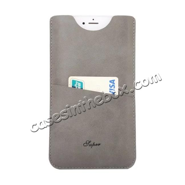 wholesale High quality Leather Pouch Case With Card Holder for iPhone 7 4.7 inch - Grey