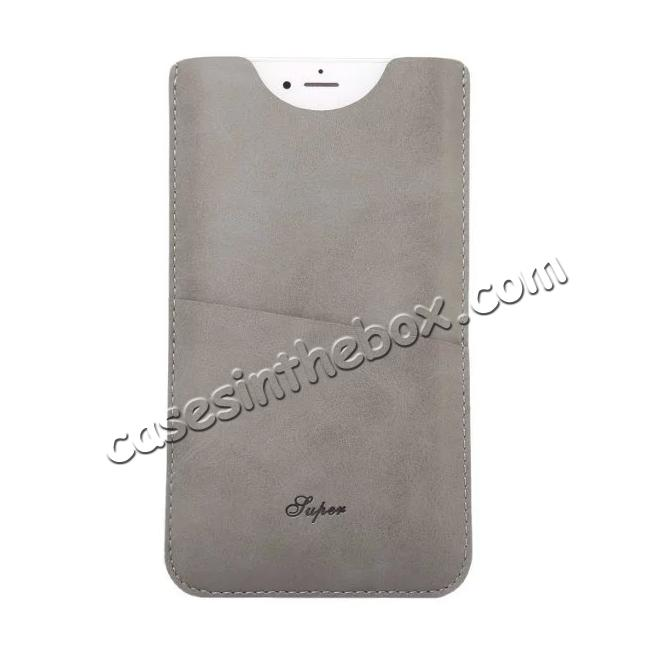 discount High quality Leather Pouch Case With Card Holder for iPhone 7 4.7 inch - Grey