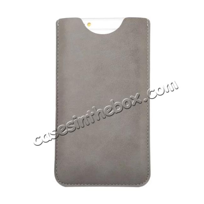 cheap High quality Leather Pouch Case With Card Holder for iPhone 7 4.7 inch - Grey