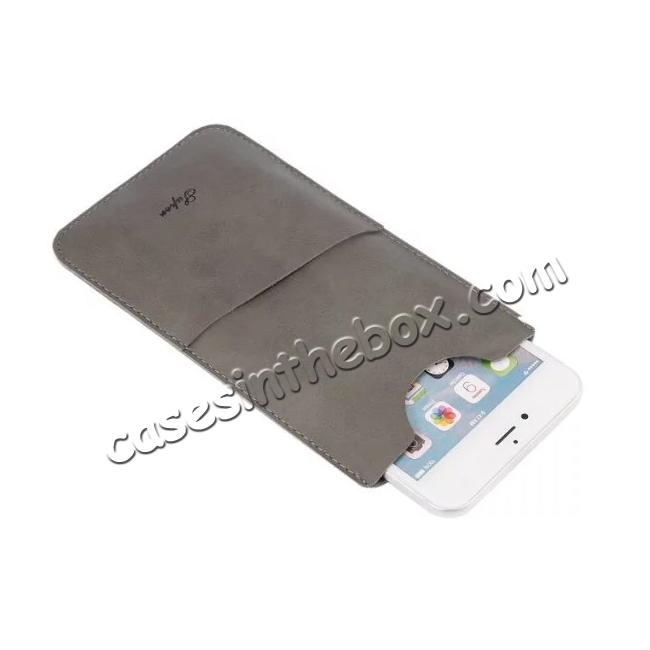 top quality High quality Leather Pouch Case With Card Holder for iPhone 7 4.7 inch - Grey