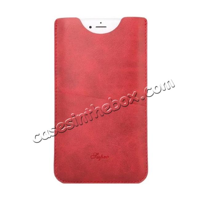 discount High quality Leather Pouch Case With Card Holder for iPhone 7 4.7 inch - Red