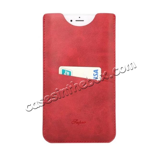 wholesale High quality Leather Pouch Case With Card Holder for iPhone 7 4.7 inch - Red