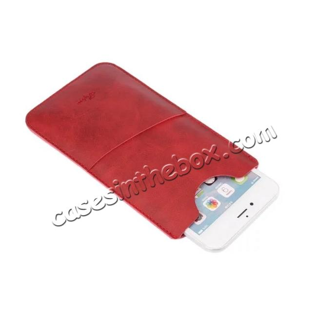 top quality High quality Leather Pouch Case With Card Holder for iPhone 7 4.7 inch - Red