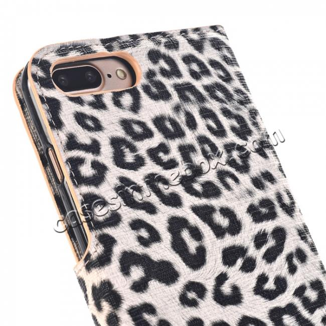 on sale Leopard Skin Leather Folio Stand Wallet Case for iPhone 7 Plus 5.5 inch - Yellow