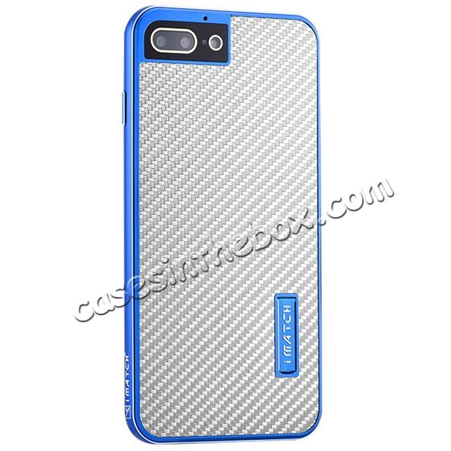 wholesale Luxury Aluminum Metal Carbon Fiber Stand Cover Case For iPhone 7 Plus 5.5 inch - Blue&Silver