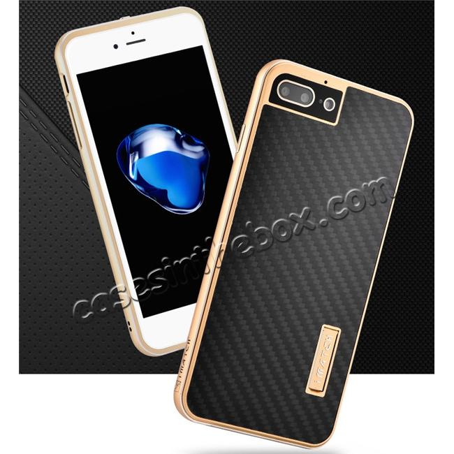 top quality Luxury Aluminum Metal Carbon Fiber Stand Cover Case For iPhone 7 Plus 5.5 inch - Gold&Black