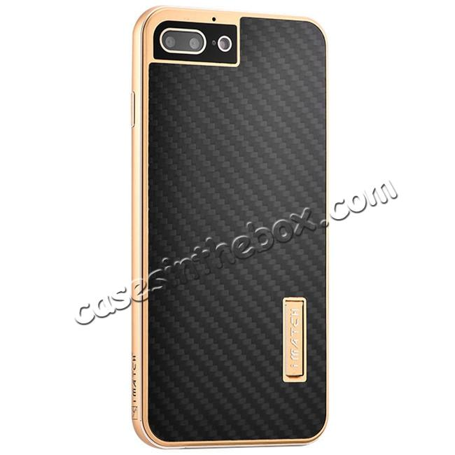 wholesale Luxury Aluminum Metal Carbon Fiber Stand Cover Case For iPhone 7 Plus 5.5 inch - Gold&Black