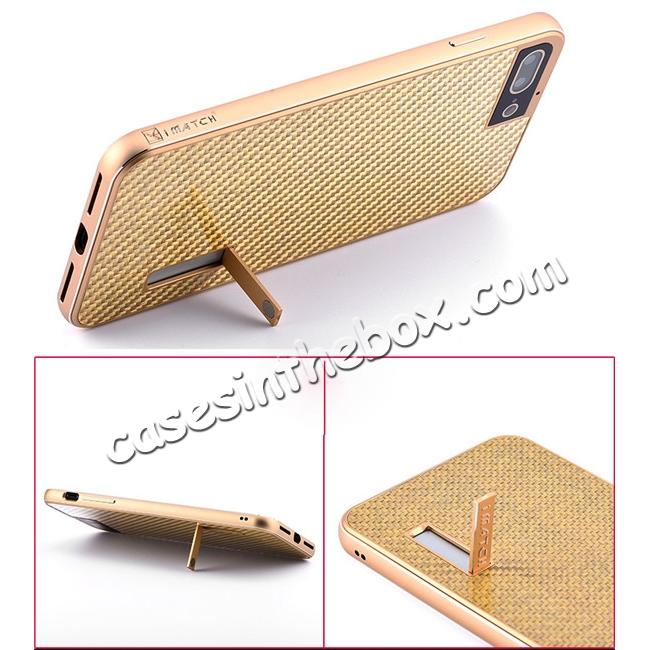 best price Luxury Aluminum Metal Carbon Fiber Stand Cover Case For iPhone 7 Plus 5.5 inch - Gold&Black