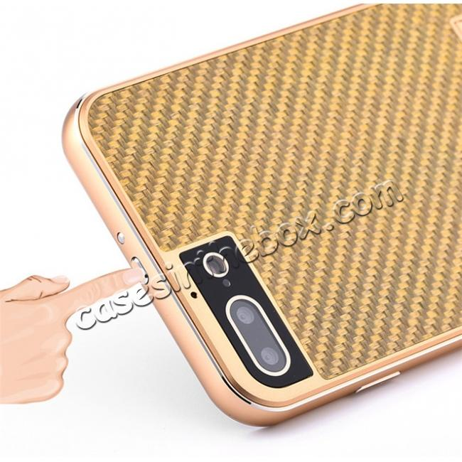 low price Luxury Aluminum Metal Carbon Fiber Stand Cover Case For iPhone 7 Plus 5.5 inch - Gold&Black