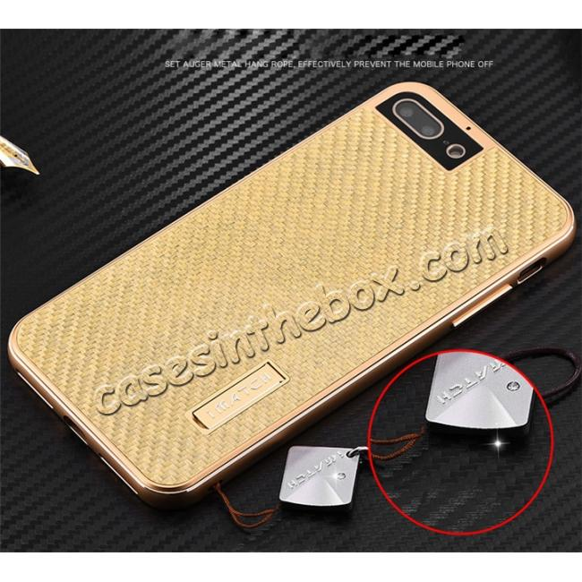 discount Luxury Aluminum Metal Carbon Fiber Stand Cover Case For iPhone 7 Plus 5.5 inch - Gold