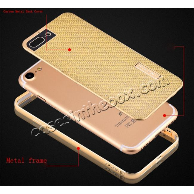 best price Luxury Aluminum Metal Carbon Fiber Stand Cover Case For iPhone 7 Plus 5.5 inch - Gold
