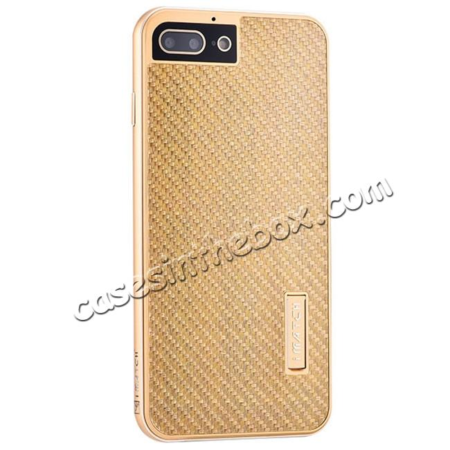 wholesale Luxury Aluminum Metal Carbon Fiber Stand Cover Case For iPhone 7 Plus 5.5 inch - Gold