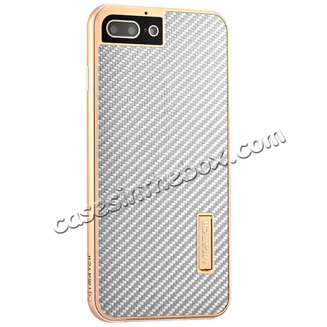 wholesale Luxury Aluminum Metal Carbon Fiber Stand Cover Case For iPhone 7 Plus 5.5 inch - Gold&Silver