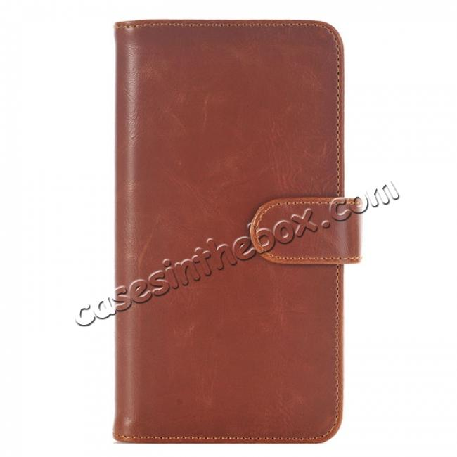wholesale Luxury Crazy Horse Leather Flip Case Wallet With Card Holder for iPhone 7 Plus 5.5 inch - Brown