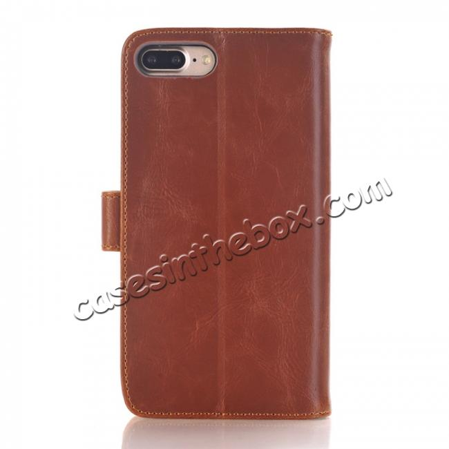 discount Luxury Crazy Horse Leather Flip Case Wallet With Card Holder for iPhone 7 Plus 5.5 inch - Brown