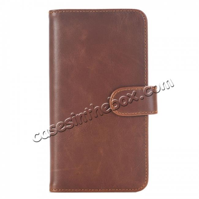 wholesale Luxury Crazy Horse Leather Flip Case Wallet With Card Holder for iPhone 7 Plus 5.5 inch - Dark Brown