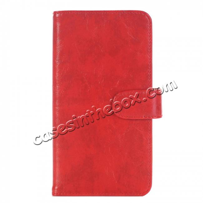 wholesale Luxury Crazy Horse Leather Flip Case Wallet With Card Holder for iPhone 7 Plus 5.5 inch - Red