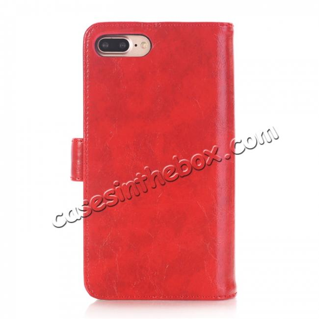 discount Luxury Crazy Horse Leather Flip Case Wallet With Card Holder for iPhone 7 Plus 5.5 inch - Red