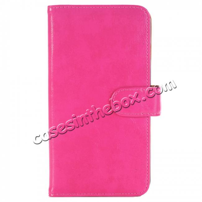wholesale Luxury Crazy Horse Leather Flip Case Wallet With Card Holder for iPhone 7 Plus 5.5 inch - Rose Red