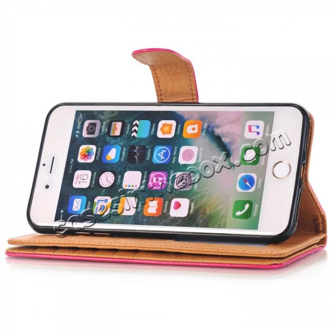 top quality Luxury Crazy Horse Leather Flip Case Wallet With Card Holder for iPhone 7 Plus 5.5 inch - Rose Red