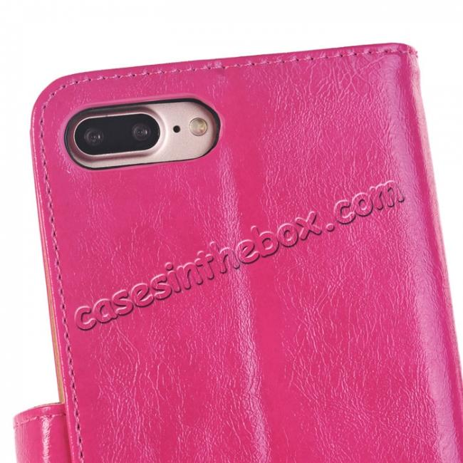 best price Luxury Crazy Horse Leather Flip Case Wallet With Card Holder for iPhone 7 Plus 5.5 inch - Rose Red