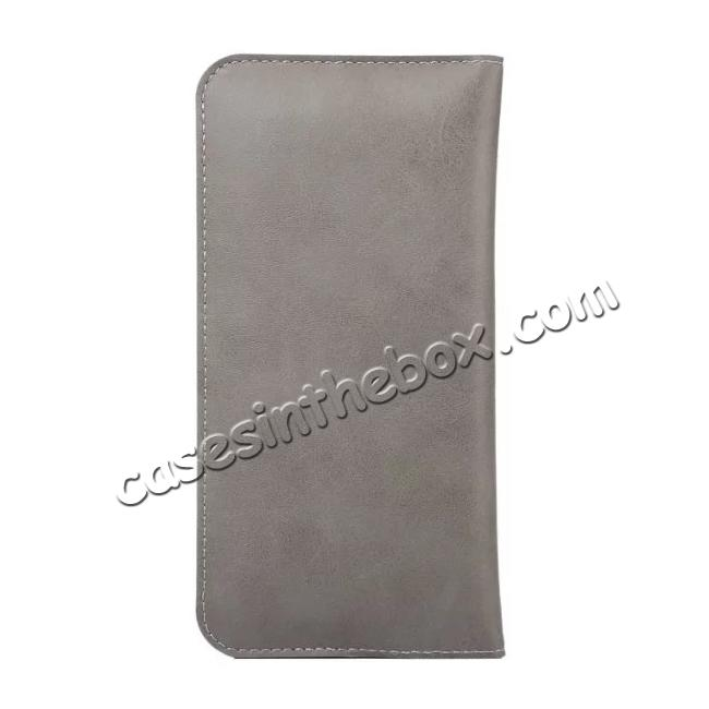 cheap Luxury Crazy Horse PU Leather Flip Bag Pouch Case Cover for iPhone 7 4.7 Inch - Grey