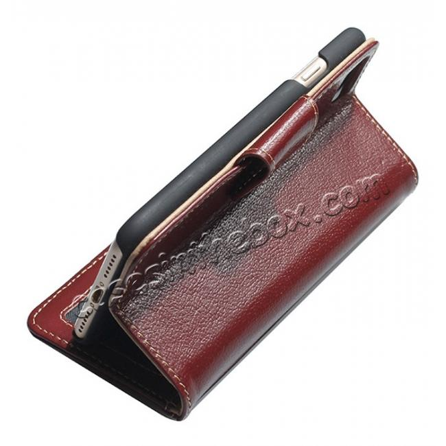 top quality Luxury First Layer Cowhide Magnetic Flip Stand PC+Genuine Leather Case for iPhone 7 Plus 5.5 inch - Wine Red