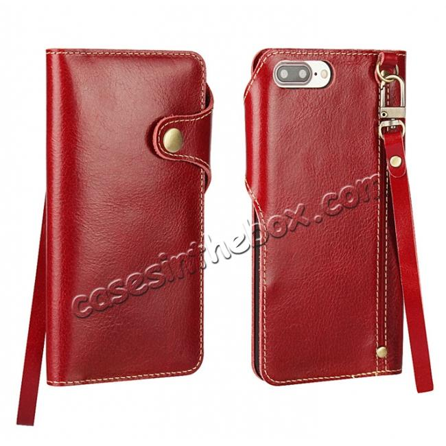 wholesale Luxury Genuine Cowhide Leather Wallet Credit Card Holder Case For iPhone 7 4.7 inch - Red