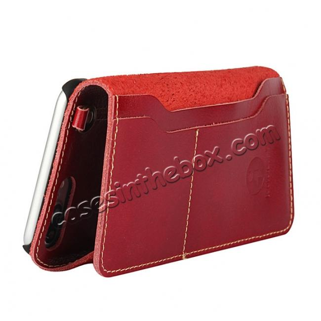 discount Luxury Genuine Cowhide Leather Wallet Credit Card Holder Case For iPhone 7 4.7 inch - Red