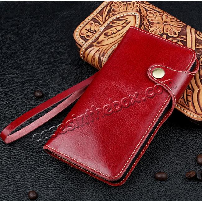 top quality Luxury Genuine Cowhide Leather Wallet Credit Card Holder Case For iPhone 7 4.7 inch - Red