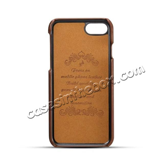 discount Luxury Leather Coated Plastic Hard Back Case with Card Slots for iPhone 7 Plus 5.5  - Coffee