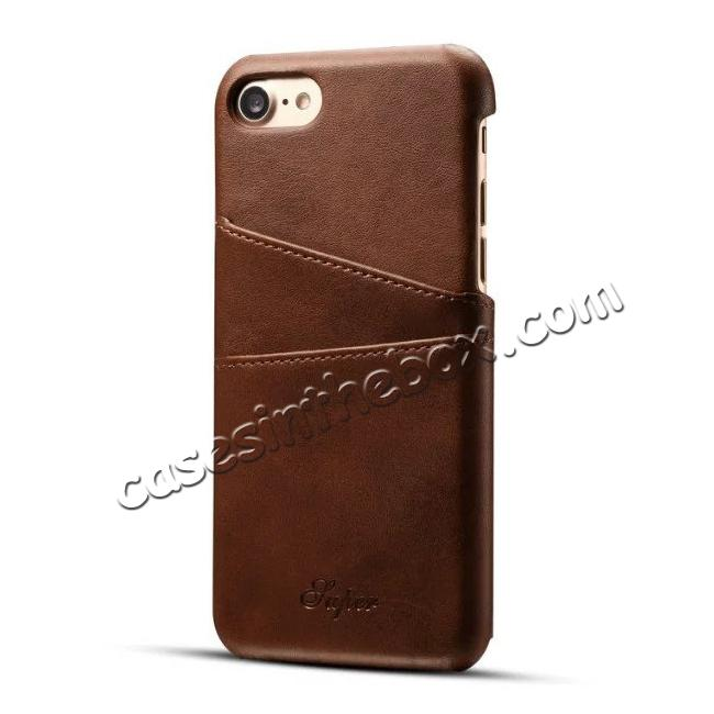 wholesale Luxury Leather Coated Plastic Hard Back Case with Card Slots for iPhone 7 Plus 5.5  - Coffee