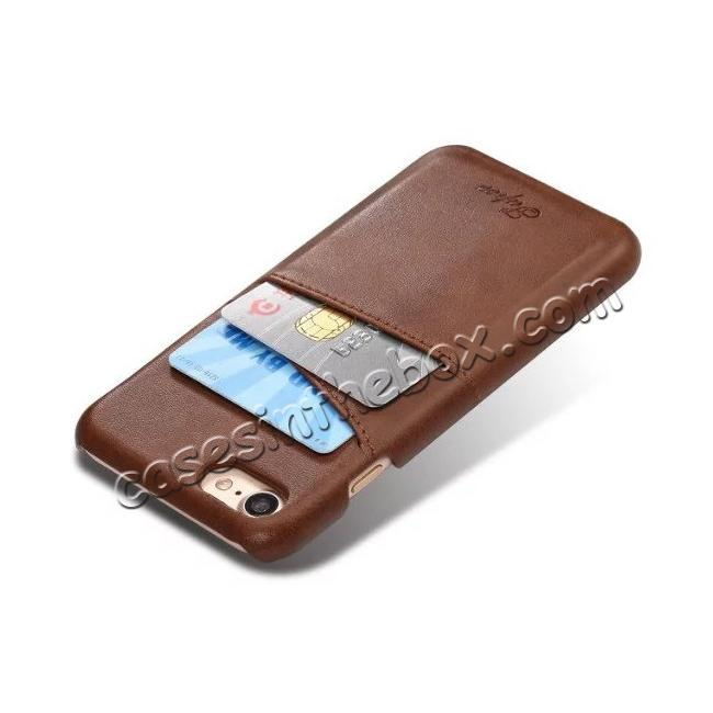 cheap Luxury Leather Coated Plastic Hard Back Case with Card Slots for iPhone 7 Plus 5.5  - Coffee