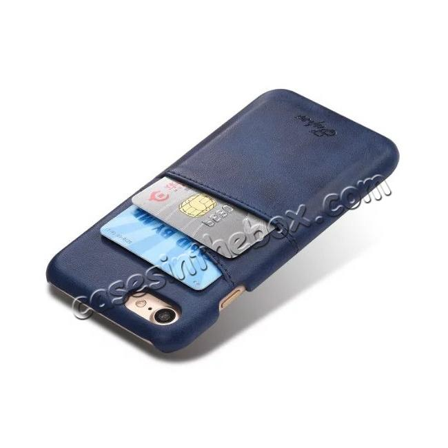 cheap Luxury Leather Coated Plastic Hard Back Case with Card Slots for iPhone 7 Plus 5.5  - Dark Blue