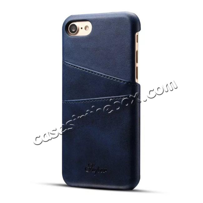 wholesale Luxury Leather Coated Plastic Hard Back Case with Card Slots for iPhone 7 Plus 5.5  - Dark Blue