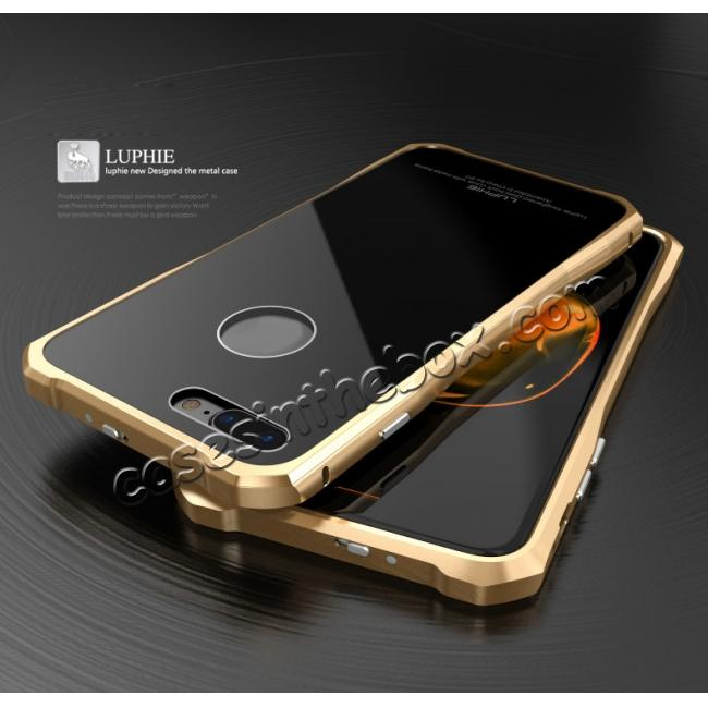 discount Luxury Metal Bumper Case & Gorilla Tempered Glass Back Cover For iPhone 7 Plus - Gold&Black