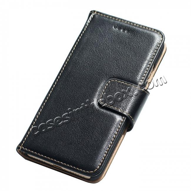 wholesale Luxury Real Genuine Cowhide Leather Stand Wallet Case for iPhone 7 4.7 inch - Black