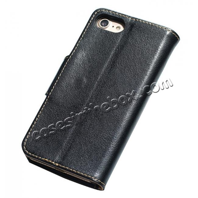 discount Luxury Real Genuine Cowhide Leather Stand Wallet Case for iPhone 7 4.7 inch - Black